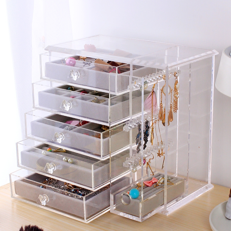 Acrylic multi-layer jewelry storage box Earring Necklace Pendant accessories cosmetic and Gemstone Storage box clear acrylic jewelry cosmetic storage display box necklace bracelets gift boxes