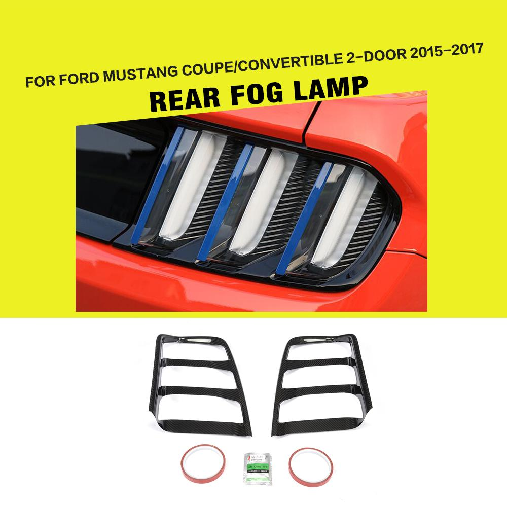 Car-Styling Carbon Fiber Racing Rear Light Tail Lamp Cover Caps Fit for Ford Mustang Coupe Convertible 2-Door 2015 - 2017Car-Styling Carbon Fiber Racing Rear Light Tail Lamp Cover Caps Fit for Ford Mustang Coupe Convertible 2-Door 2015 - 2017