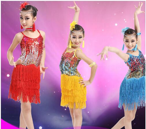 Latin dance skirt children latin dance costumes girls sequins tassel skirts Women Latin Costume