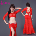 B.u.w Brand 2016 Cotton New Hot Sale Women Belly Dance Costumes Exercise Performance Top+skirt Suits For Oriental Costumes8080