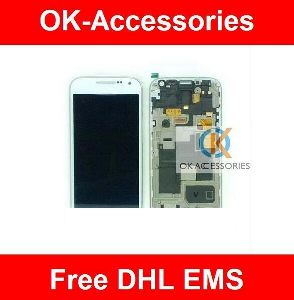 ФОТО  White color For Samsung Galaxy S4 Mini i9195 i9190 Touch Screen Digitizer+LCD With Frame 10PCS /Lot