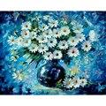 Картина по номерам DIY  Прямая поставка  40х50  50х65 см  синий фон  ромашки  цветок  холст  свадебное украшение  художественное изображение  подаро...