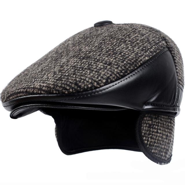 HT1850 Autumn Winter Hat Men Retro Newsboy Flat Caps Wool Felt Leather  Cabbie Beret Cap Thick Warm Dad Hats with Ear Flap Berets 8c870f6332f