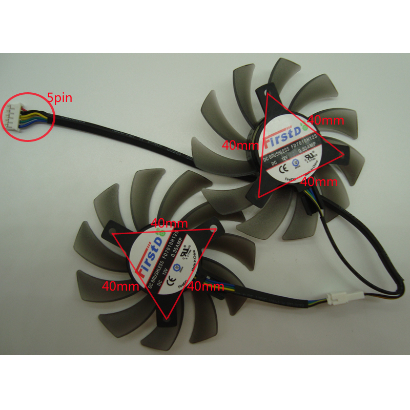 Free Shipping FD7010H12S DC12V 0.35A VGA <font><b>Fan</b></font> For ASUS GTX690 GTX680 GTX670 GTX660TI HD7970 <font><b>R9</b></font> <font><b>270X</b></font> GTX770 Graphics Card <font><b>Fan</b></font> 5Pin image