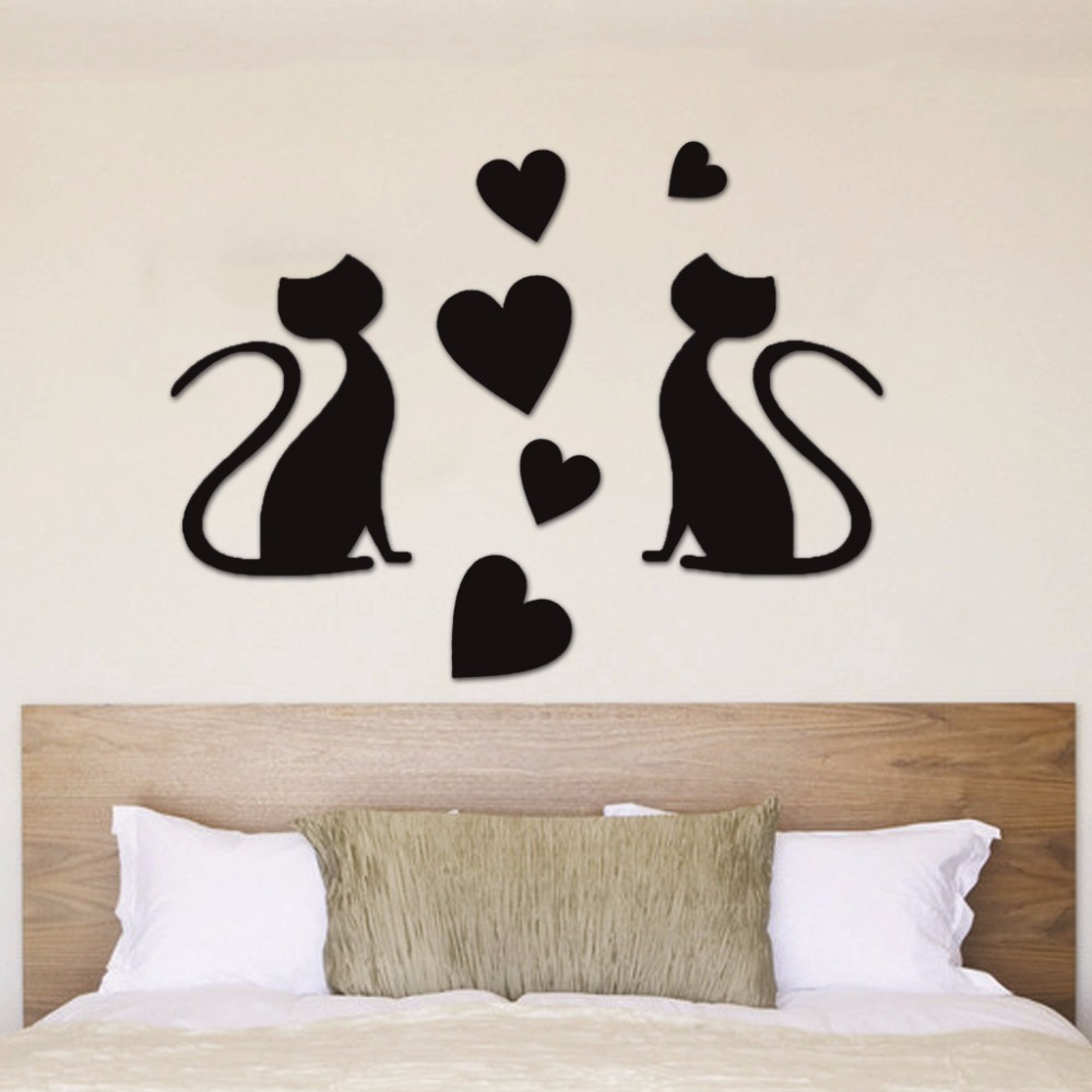 Wall stickers cat - 3d Wallpaper Mirror Wall Stickers Cute Cat Home Mural Room Art Decoration Diy China