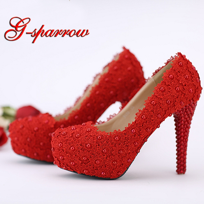 3ede763a8530 Hot Selling Wedding Shoes Red Lace Flower Platform Bridal Formal Dress Shoes  Women Pumps Birthday Party Dance High Heels
