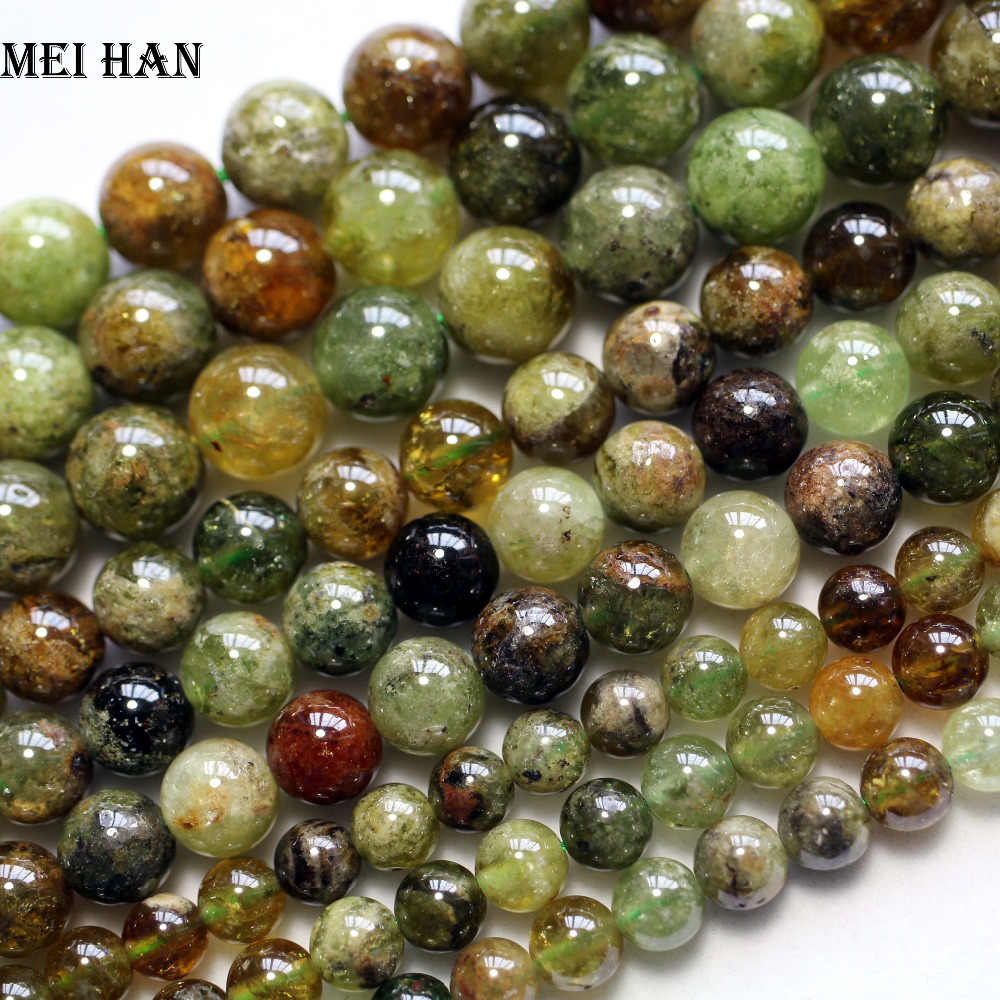 Meihan naturale (1 strand/set) 6 millimetri verde granato rotondo liscio perline di pietra allentati per gioielli FAI DA TE che fanno commercio all'ingrosso