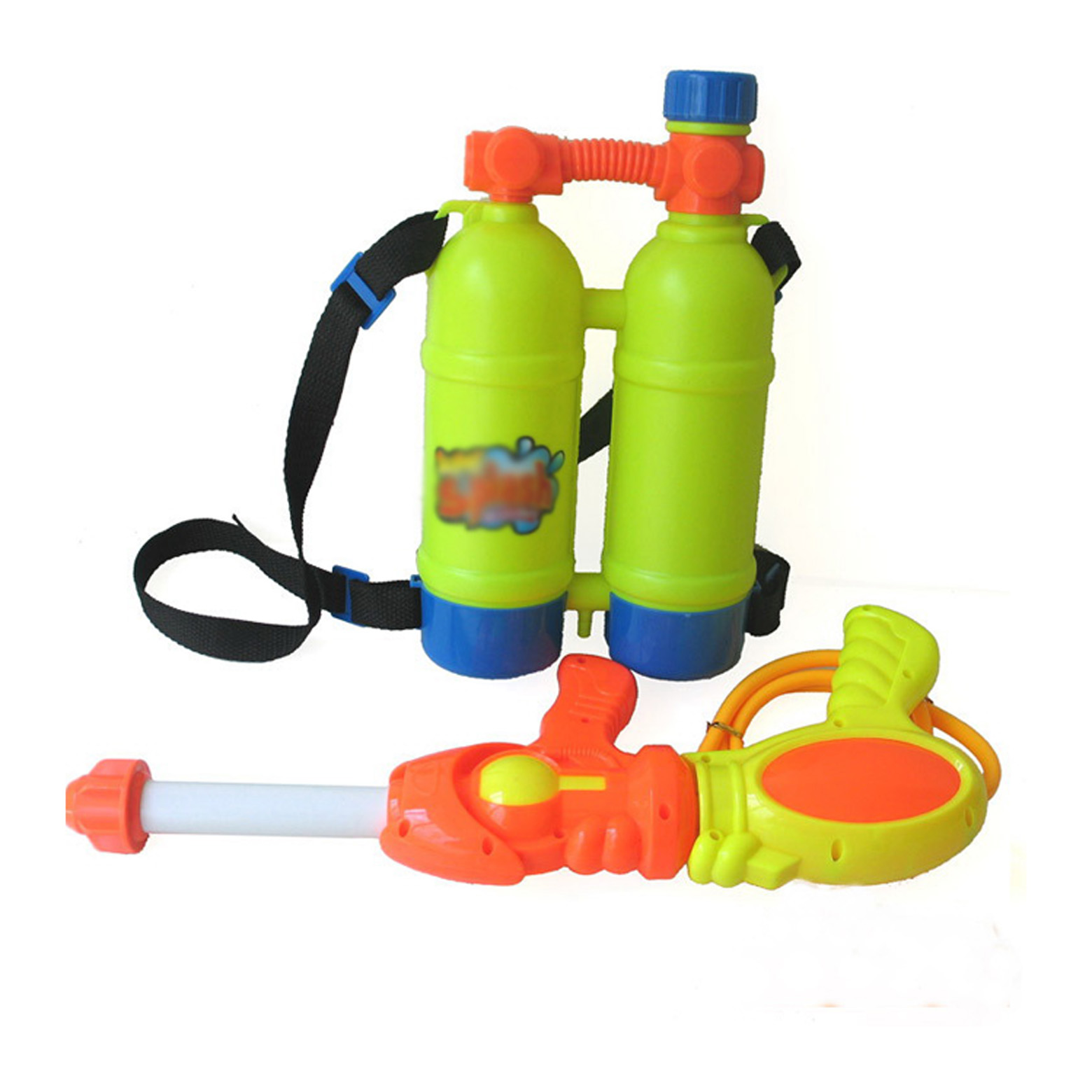 backpack squirt gun Fill the backpack with water and then  pump the handle to squirt three jets of water forward.