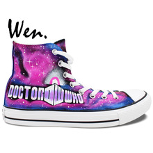 Wen Design Custom Hand Painted Shoes Tardis Doctor Who Men Women's Birthday Gifts Pink High Top Canvas Sneakers