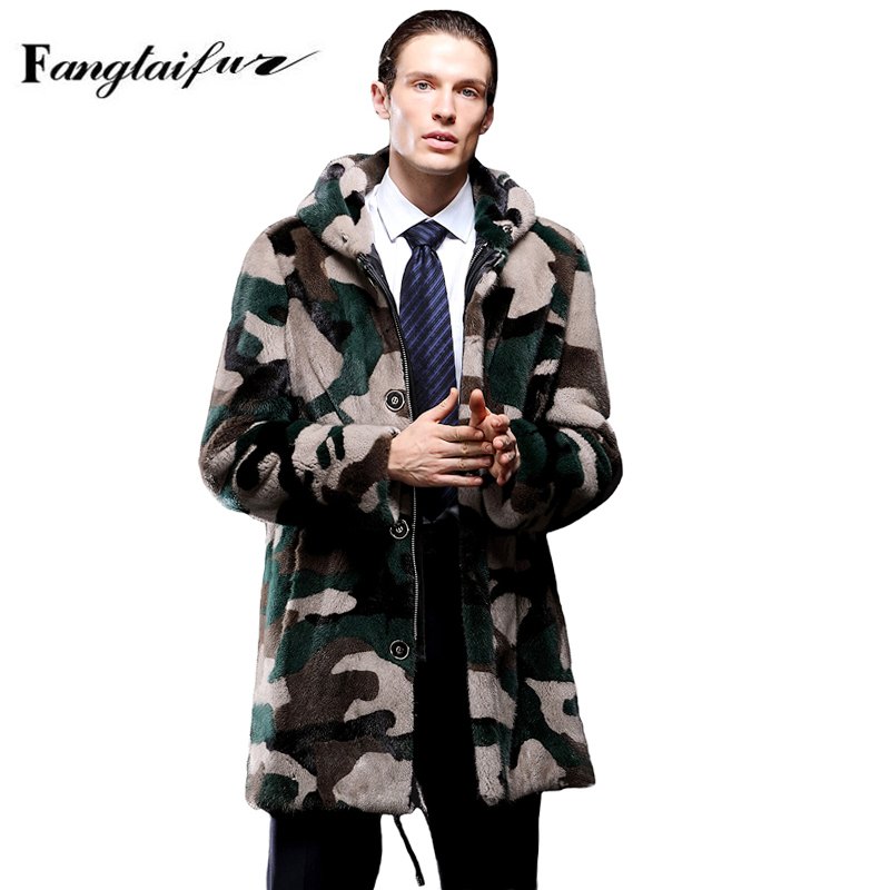 Mink-Fur-Coat Real Velvet X-Long with Hood Men's Smart-Causal Fang Camouflage Import