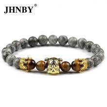 JHNBY Pugs Dog Men Charm Crown Bracelets&Bangle 8mm Map stone Tiger