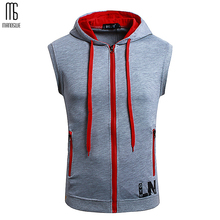 Sleeveless Men Hooded Pullover Zipper Solid Cardigan Hoodie Slim Teens Tops Off White Sweatshirts Street Wear Oversized XXXXL
