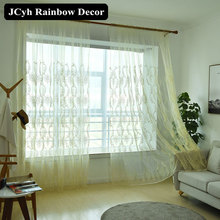 Embroidery Floral Tulle Curtains for Living Room Bedroom European Style Sheer Curtains for Window Organza Blinds Voile Treatment