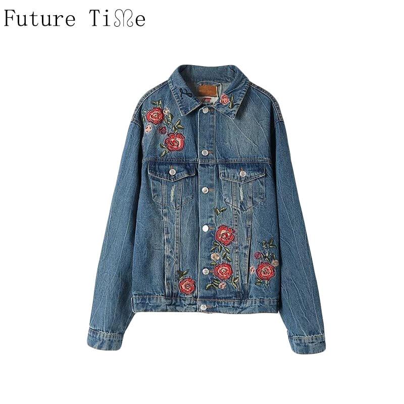 Джинсовая куртка с вышивкой розы