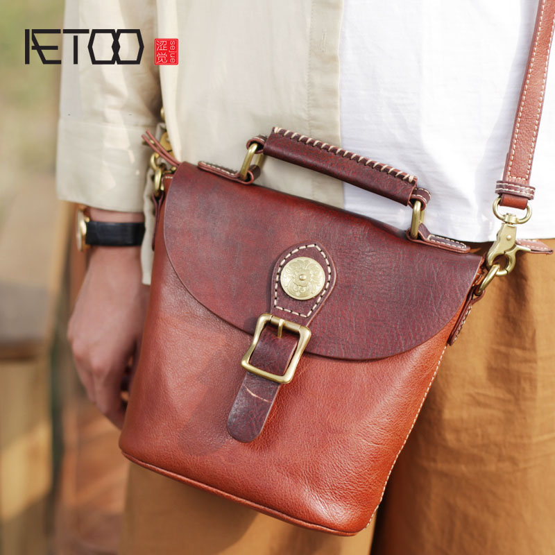 AETOO The first layer of pure leather retro bucket bag Japanese national wind handbag handmade leather female shoulder diagonal aetoo spring and summer new leather handmade handmade first layer of planted tanned leather retro bag backpack bag
