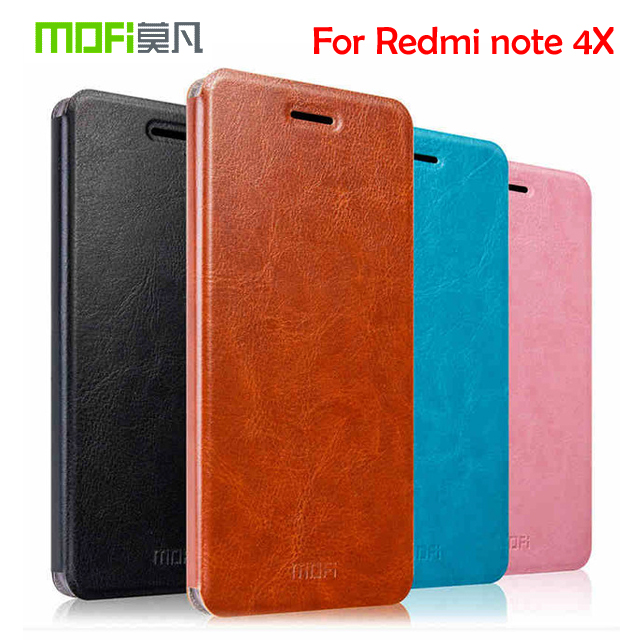 """Mofi Leather Stand Case For Xiaomi hongmi rice Note 4x Redmi Note 4X 5.5"""" Hight Quality Cell Phone Case Cover"""