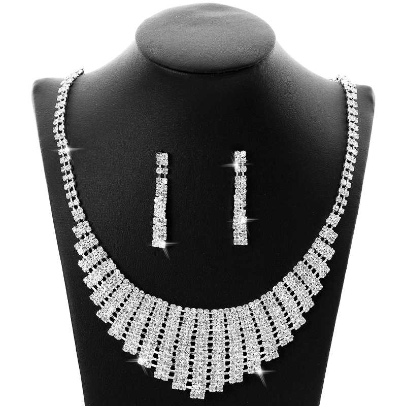 Classic Crystal Wedding Jewelry Sets for Women Clear Tassle Rhinestone Silver Plated Necklace Set Bridal Engagement Jewelry