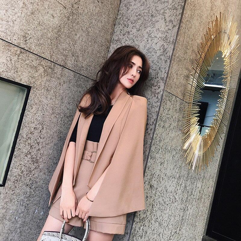 Ensemble femme 2018 printemps et été nouveau style Slim mode tempérament manteau costume veste + short élégant décontracté deux pièces
