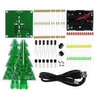 Three Dimensional 3D Christmas Tree LED DIY Kit Red Green Yellow LED Flash Circuit Kit Electronic