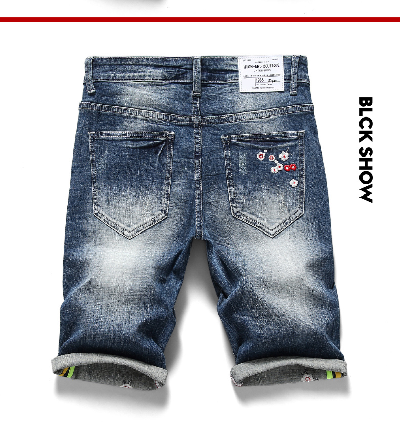 KSTUN 2020 Summer New Men's Denim Shorts Embroidery Flower Fashion Casual Slim Fit Elastic Jeans Short Male Brand Clothing Pants 12