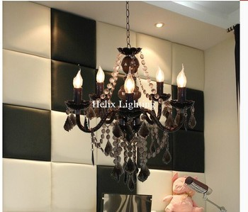 New Arrival Clear Black Chandelier Living Room Candle Lamps luxury Acrylic Crystal Chandelier Lights AC 100% Guaranteed