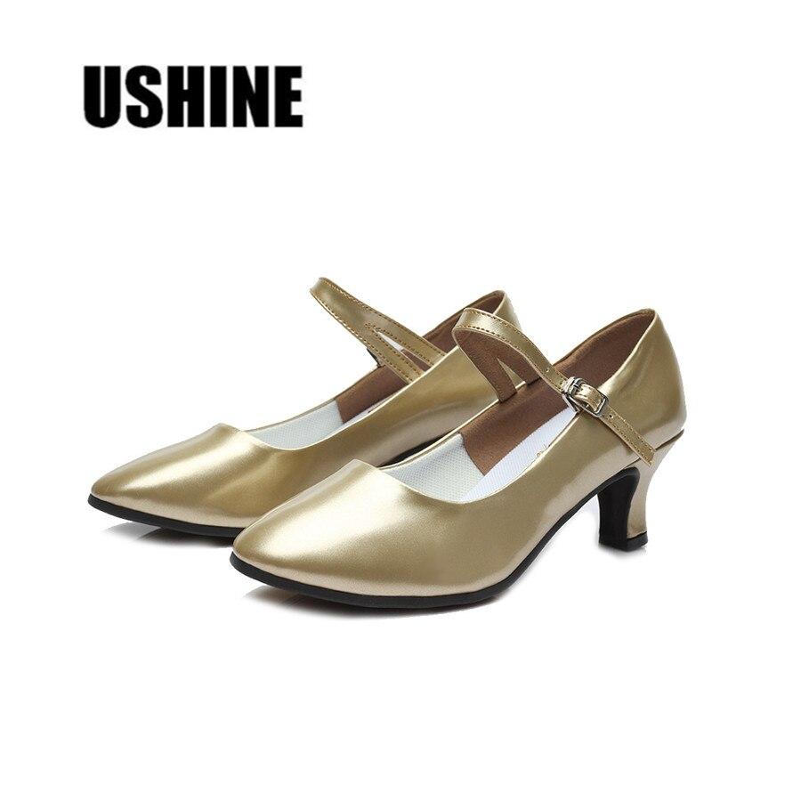 Outdoor/Indoor Gold PU Latin Dance Shoes Woman Zapatos De Baile Latino Mujer Salsa Tango Ballroom Shoes TYmodeng Free Shipping