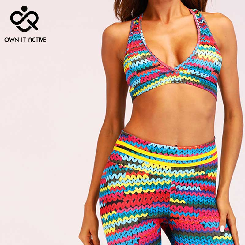 Femmes Yoga tissu ensembles Gym entraînement Fitness Sport soutien-gorge tricot impression Leggings dame taille haute coloré chaîne serré Leggings 3D