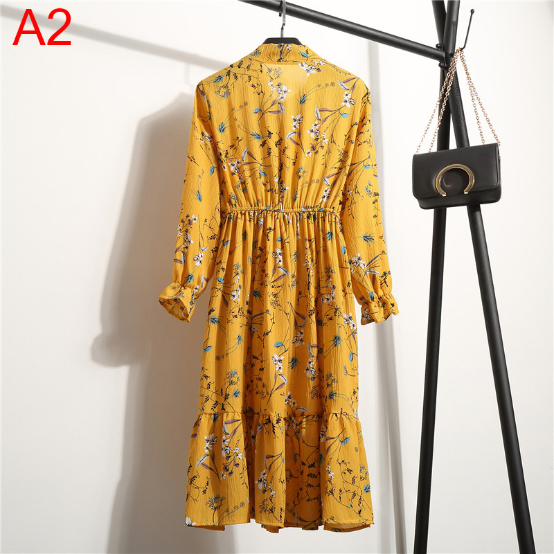 19 Autumn Women Dress For Ladies Long Sleeve Polka Dot Vintage Chiffon Shirt Dress Casual Black Red Floral Winter Midi Dress 183