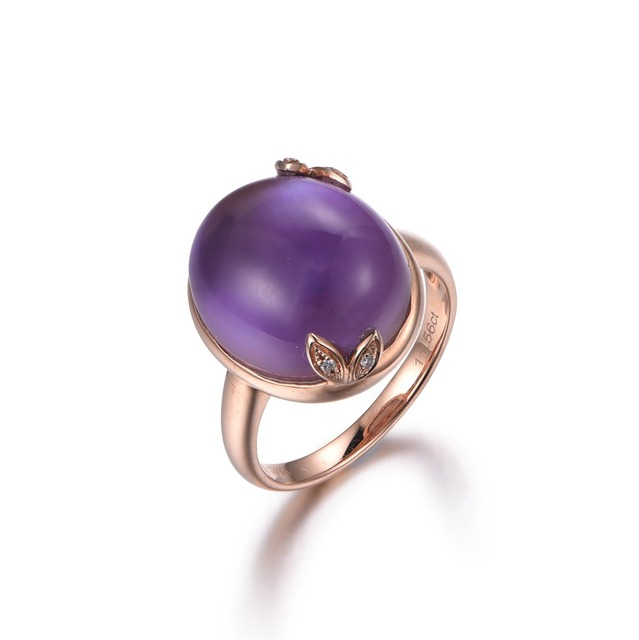 Well-known MYRAY 14k Rose Gold Natural Oval Purple Amethyst Stone Crystal  KV31