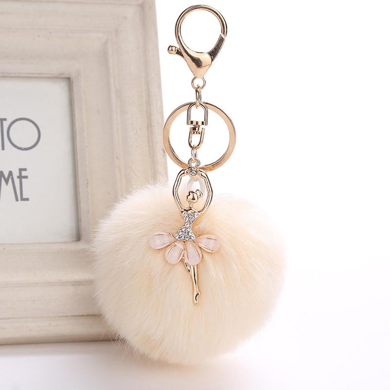 все цены на ZOEBER Fake Rabbit Fur Ball KeyChain Pompom Key Chain Pom Pom Key Rings Ballet Angel Girl Fourrure Pompon Women Bag Jewelry
