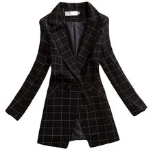 Brieuces BlackFemale blazer 2019 spring and autumn new women jacket slim medium-long plaid long-sleeve casual suit