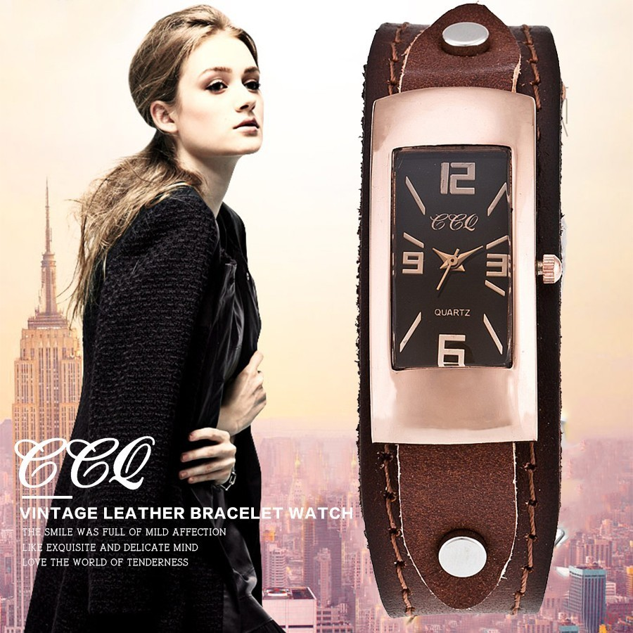 CCQ Brand Women Genuine Leather Bracelet Watch Fashion Casual Ladies Female Quartz Watches Wrist Watch Gift Relogio Feminino fashion casual ladies leather quartz watch mathematical symbols women men wrist watches relogio feminino gift