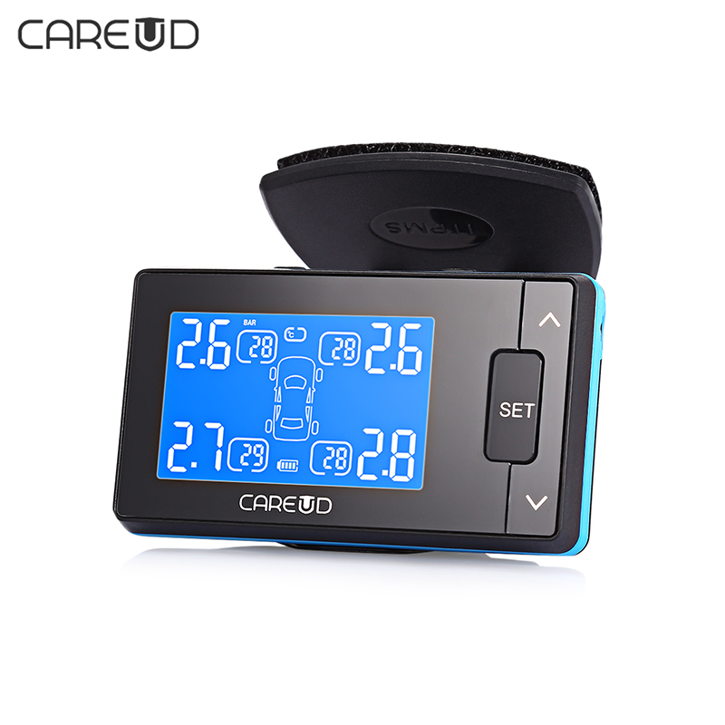 CAREUD U902 LCD Display TPMS DC 12V Car Tire Pressure Monitoring System with 4 Wireless External/Internal Sensor careud u903 wf tpms wireless tire pressure monitor with 4 external sensors