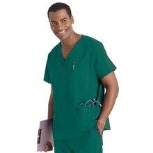 Hennar Men uniform medical, scrub top with V neck short sleeve 100% cotton medical top,