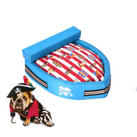 Cute Pirate Boat Pets Dog Bed High Quality Canvas Warm Animal Cats Baskets Beds Puppy Blanket
