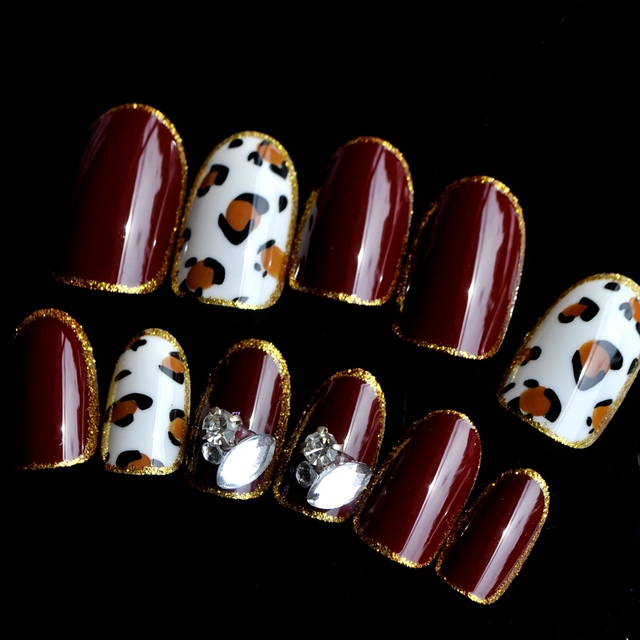 Shiny Brown Acrylic Fake Nails Large Crystal Uv Nail Art Tips Leopard Oval Head With