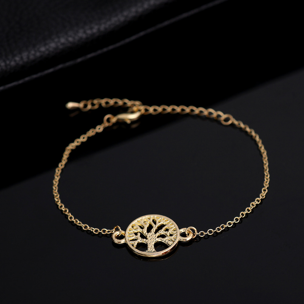 New Fashion Simle Link Chain Tree of Life Bracelet for Women Party