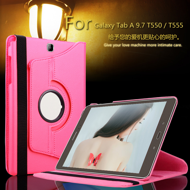 For Samsung Galaxy Tab A 9.7 T550 T555 PU leather 360 Rotating Stand Case cover For Galaxy Tab A P550 P555 9.7 tablet + Film luxury flip stand case for samsung galaxy tab 3 10 1 p5200 p5210 p5220 tablet 10 1 inch pu leather protective cover for tab3
