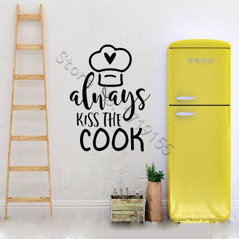 YOYOYU Wall Decal Quote Always Kiss the Cook Wall Stickers Vinyl Funny Kitchen Decoration Accessories Removable Decor DIY ZW446 Pakistan