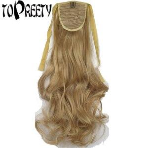 Cinta ondulada de pelo sintético resistente al calor TOPREETY, extensiones de cabello con cola de caballo 1008