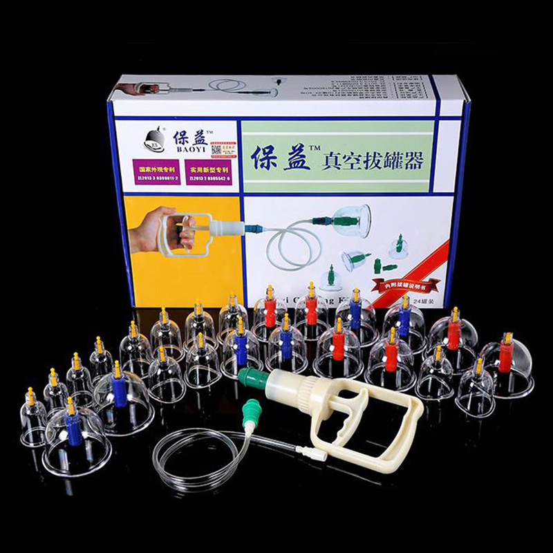Ancient Chinese Cupping: 24 Cups Vacuum Magnetic Cupping Sets Home Care Medical