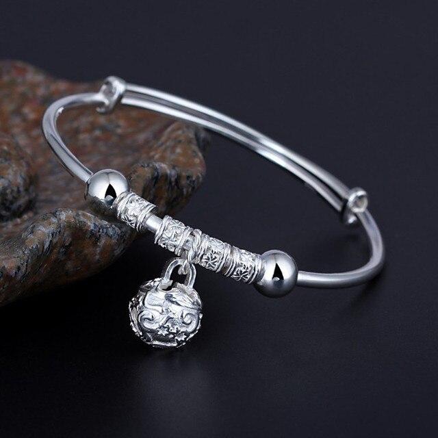990 sterling silver bracelet bell solid bangles adjustable craft vintage bracelets & bangles for women Ethnic Trend jewelry