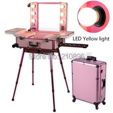 LED Yellow Light Pink Professional Aluminum trolley makeup case with lights LED Lighted Makeup Box