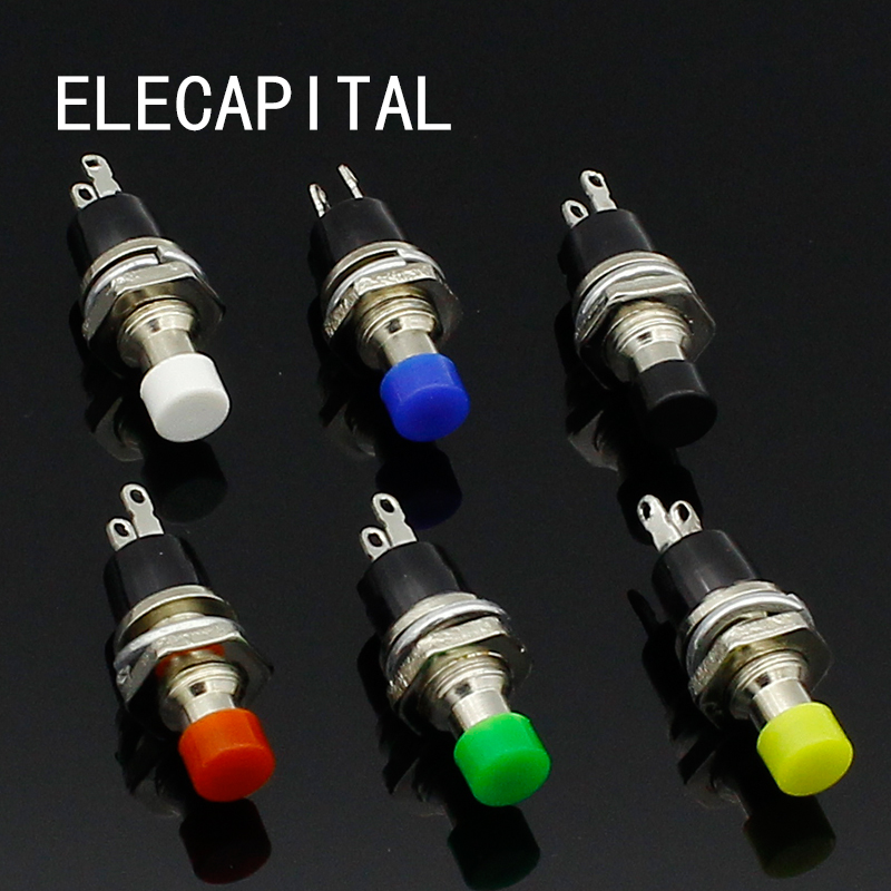 цена на 6pcs 7mm Momentary Push button Switch Press the reset switch Momentary On Off Push Button Micro Switch Normally Open NO