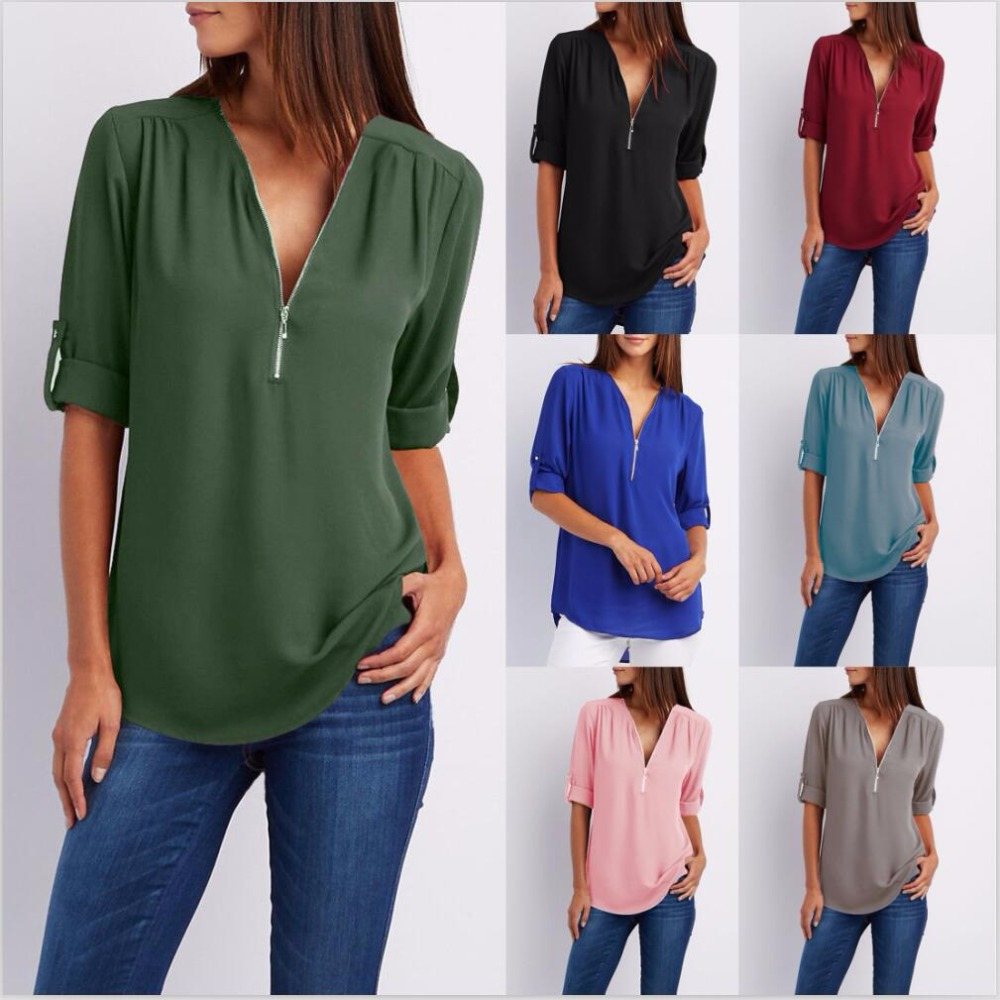 2018 New Spring Summer Fashion Donna Top Casual Street Mezza Manica Con Scollo A V Camicetta Allentata Plus Size Zipper Chiffon Camicetta Shirt