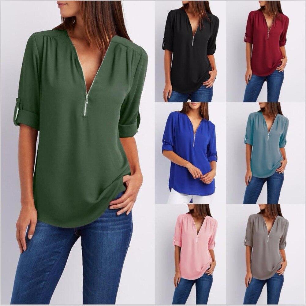 2018 New Spring Summer Fashion Women Tops Casual Street Half Sleeve V-Neck Blouse Loose Plus Size Zipper Chiffon Blouse Shirts