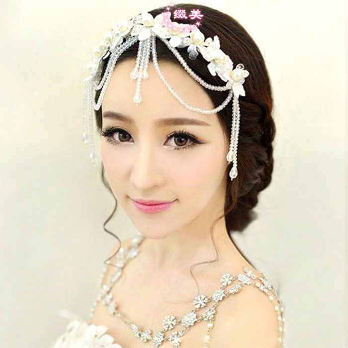 Hermosa princesa cuentas de cristal imitación perla encaje flor borla Boda nupcial frente joyería cabello accesorio