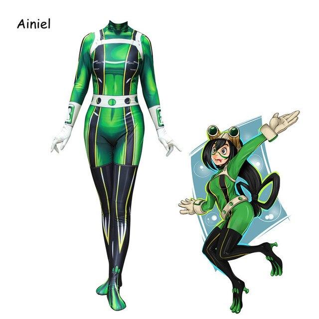 Ainiel My Hero Academia Froppy Tsuyu Asui 코스프레 의상 스판덱스 Zentai Suit 여성 소녀 바디 슈트 Halloween Kids and Adults