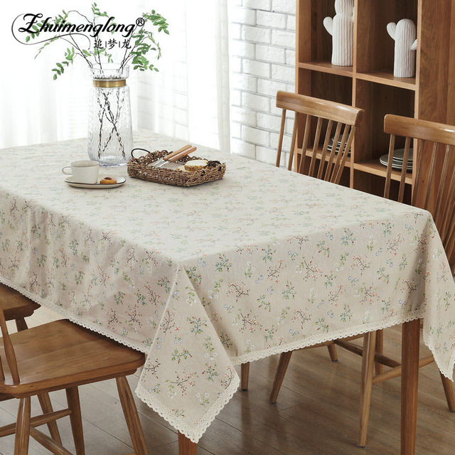 Hot Paste Tablecloth Linen Cotton Cloth With Lace Edge Flower Print Country Style Ne Rectangular
