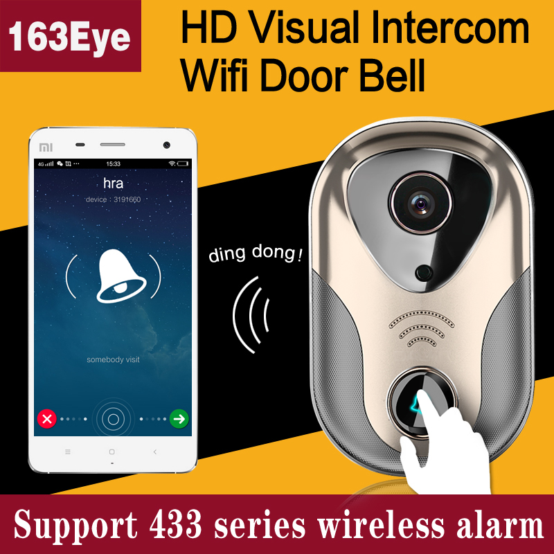 HD 720P wifi doorbell camera 163eye network infrared video security ring wireless wifi ip camera door bell,sn:L1-NJ hd sony 700tvl 960h cat eye door hole